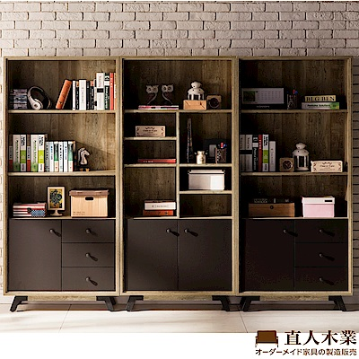 日本直人木業-ANTE原木風格2個三抽1個雙門243CM書櫃(243x30x181cm)