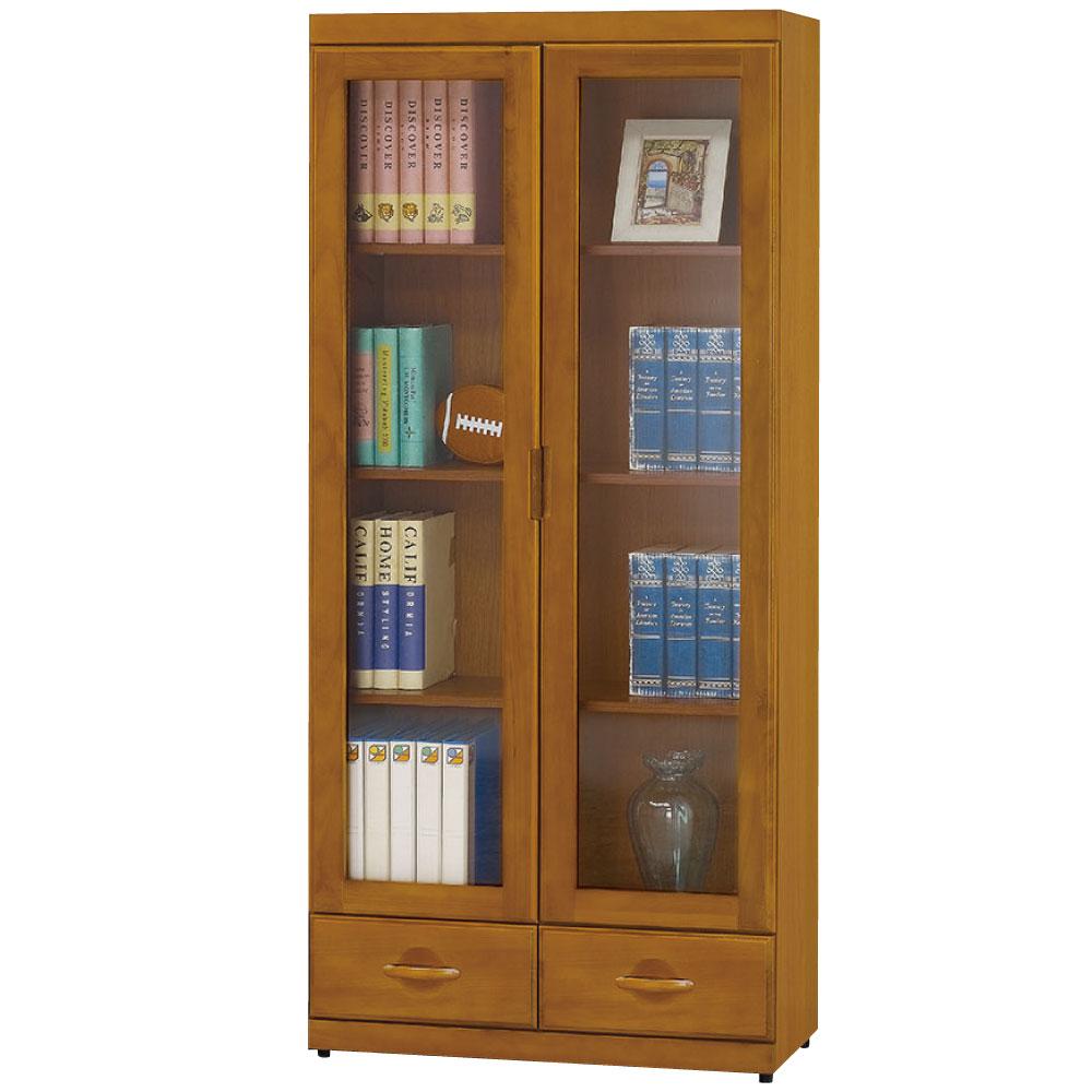 品家居 開羅2.7尺抽木色二門二抽書櫃-80x33x182cm-免組