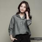 H:CONNECT 韓國品牌 女裝 -棉麻七分袖襯衫 - 灰(快)
