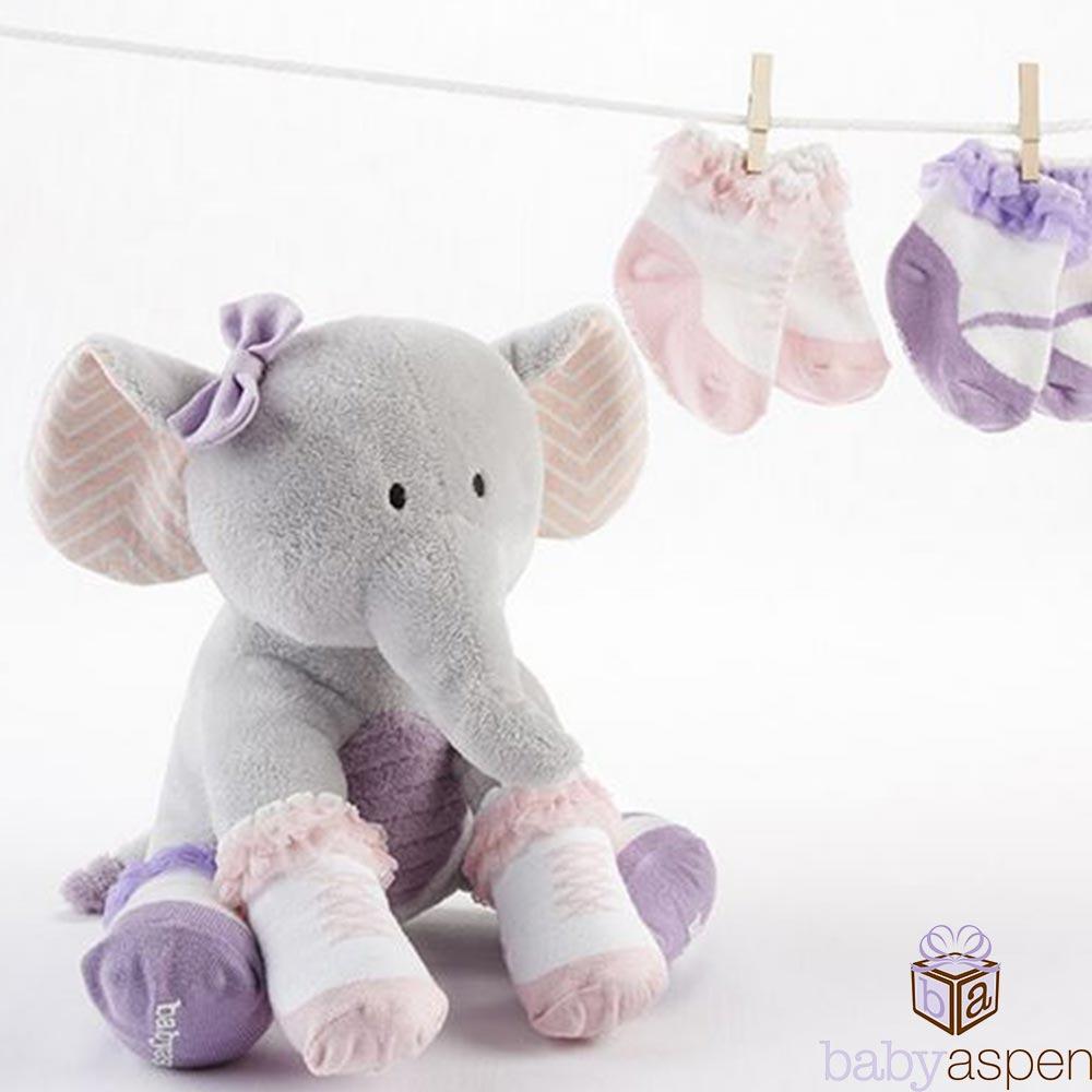 Baby Aspen 小灰象玩偶蕾絲小襪彌月禮盒組