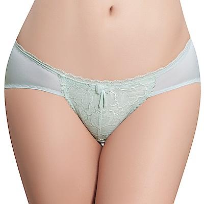 思薇爾 透輕涼系列M-XL蕾絲低腰三角內褲(桔梗綠)