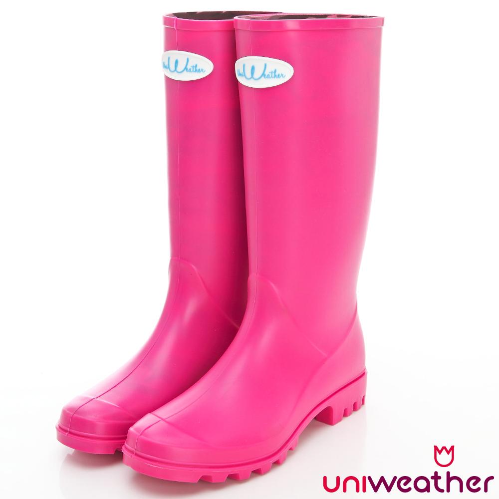 UniWeather 簡約魅力長筒雨靴 玩色系列 可愛粉