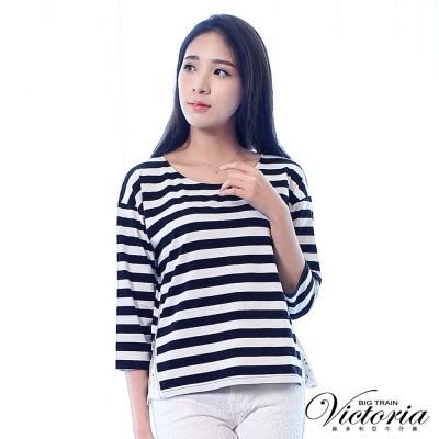 Victoria 脅開拉鍊拼接蕾絲寬鬆七分袖T-女-黑白粗條