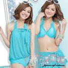 【花漾美姬】時尚風潮~素荷葉二件式鋼圈泳衣(湖綠)