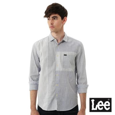Lee 條紋長袖拼接襯衫-男款-灰色