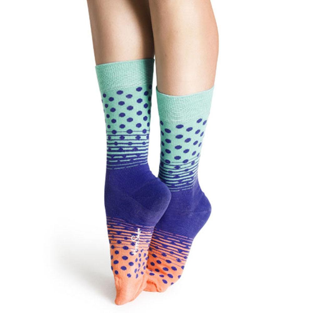 【摩達客】瑞典進口【Happy Socks】綠紫粉漸層圓點中統襪