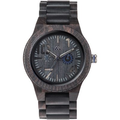 WEWOOD 義大利日期木頭錶 OBLIVIO BLACK BLUE-烏木/46mm