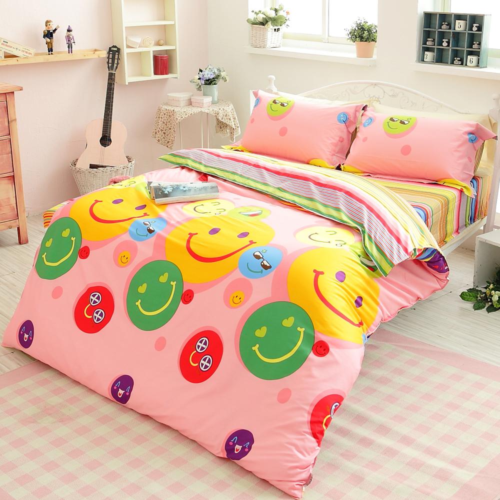 生活提案【微笑每一天】雙人四件式活性印染純棉兩用被床包組