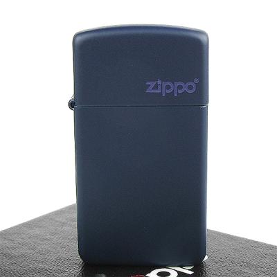 【ZIPPO】美系~LOGO字樣打火機~Navy Matte海軍藍烤漆-窄版