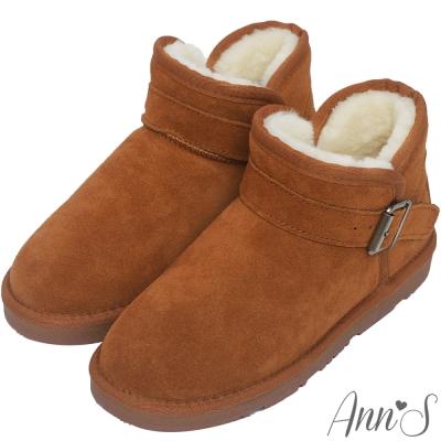 Ann'S暖澎澎-側V口釦帶厚毛短筒雪靴-棕