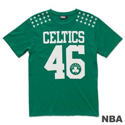 NBA-波士頓塞爾提克隊星星印肩短袖T恤-綠(男)
