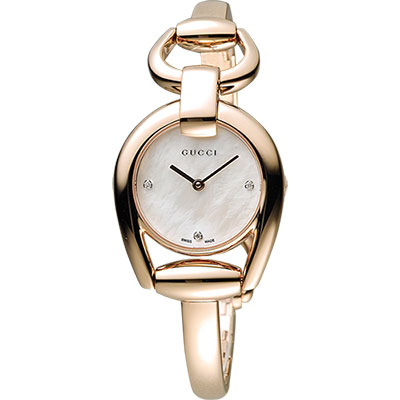 GUCCI Horsebit 唯美真鑽手鍊腕錶-珍珠貝x玫瑰金/28mm