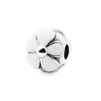 Pandora 潘朵拉 夾扣款-白色塘瓷雛菊墜