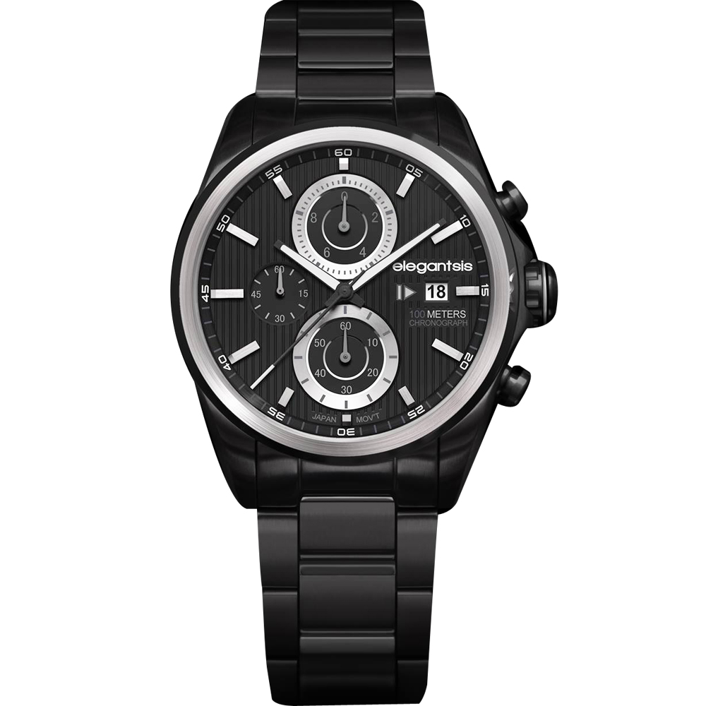 elegantsis 領先風範三眼計時腕錶-黑/45mm