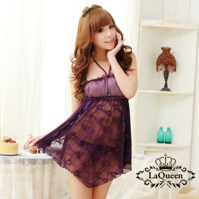 情趣睡衣   平口繞頸性感連身情趣睡衣-紫La Queen