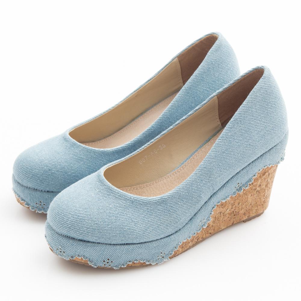 JMS-素面花邊丹寧帆布楔型娃娃鞋-淺藍色