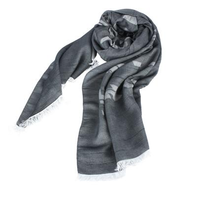 ARMANI COLLEZIONI 經典虛線大LOGO素面圍巾-藍黑色