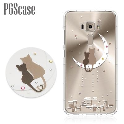 PGS ZenFone3 ZE552KL 5.5吋 奧地利彩鑽防摔手機軟殼-相愛貓咪