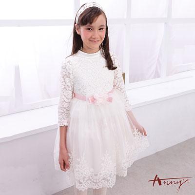 Annys超夢幻蕾絲高質花朵蓬蓬禮服-6204白