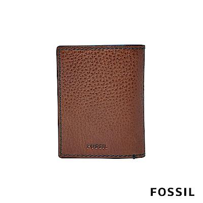 FOSSIL RICHARD極致簡約真皮名片夾-咖啡色