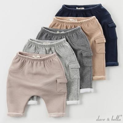 Dave Bella 內刷毛保暖素色側口袋縮口長褲