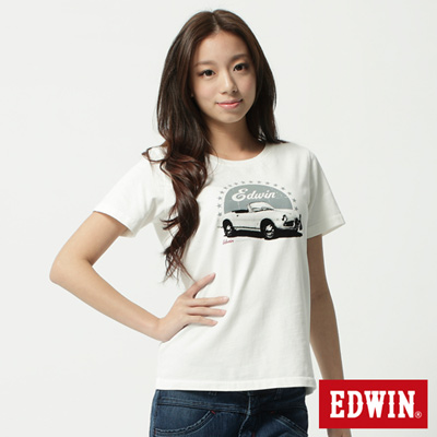 EDWIN-T恤-古董汽車後染T恤-女-米色
