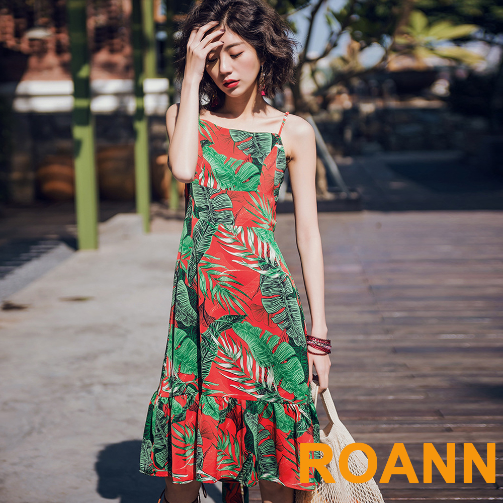 度假風印花露背綁帶吊帶裙 (印花)-ROANN