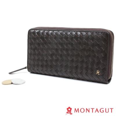MONTAGUT夢特嬌-Weaving Leather Wallet編織真羊皮夾