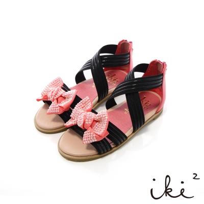 iki2童鞋-可愛鑽飾蝴蝶結彈性交叉涼鞋-氣質黑