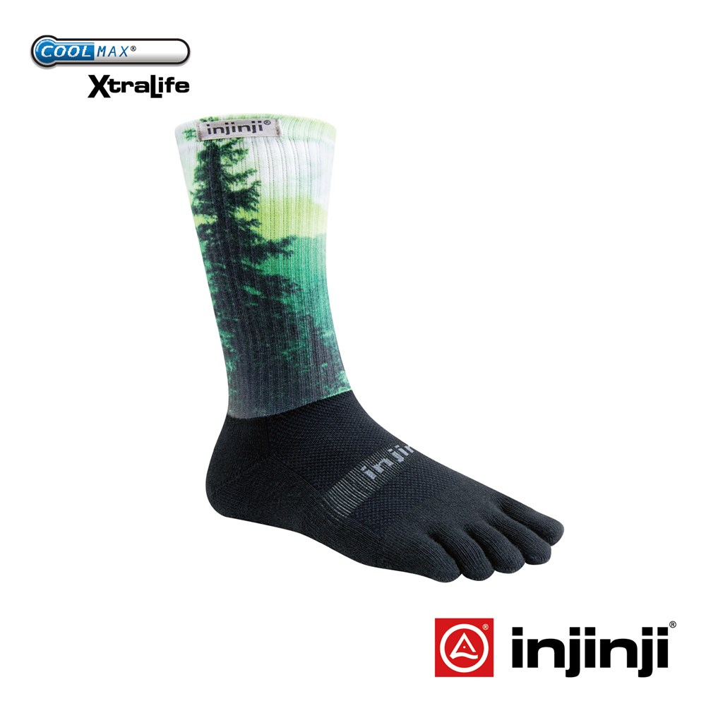 【Injinji】TRAIL野跑避震吸排五趾中筒襪-森林綠