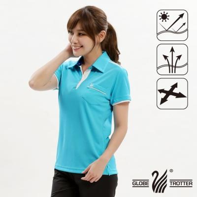 【遊遍天下】女款抗UV吸濕排汗機能POLO衫GS10013水藍