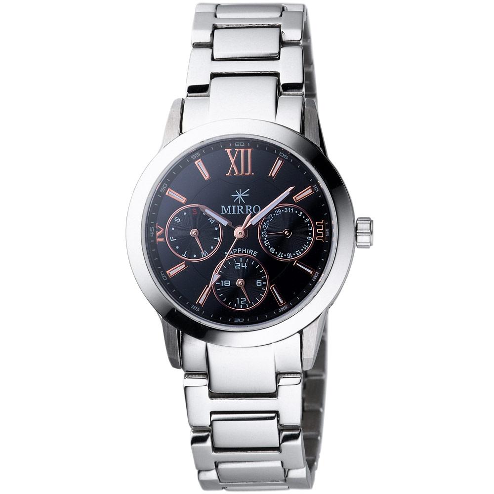 MIRRO 都市時刻三眼日期腕錶-黑/32mm
