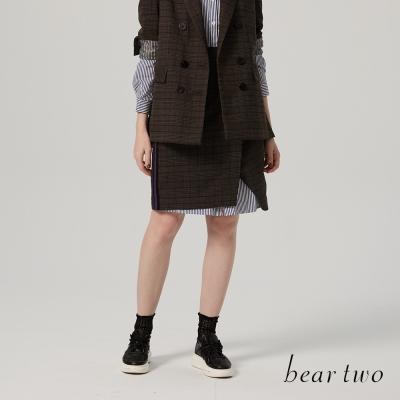 beartwo 不對稱開衩運動配條格紋及膝裙(灰色)