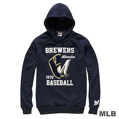 MLB-密爾瓦基釀酒人隊連帽鏡像長袖印花厚T恤-深藍(男)