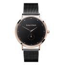 Barbas&Zacari 澳大利亞手錶 千年系列 黑色金屬錶帶 玫瑰金錶框 黑錶盤43mm