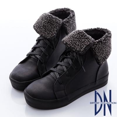 DN 迷人丰采 質感綁帶翻領平底短靴-黑