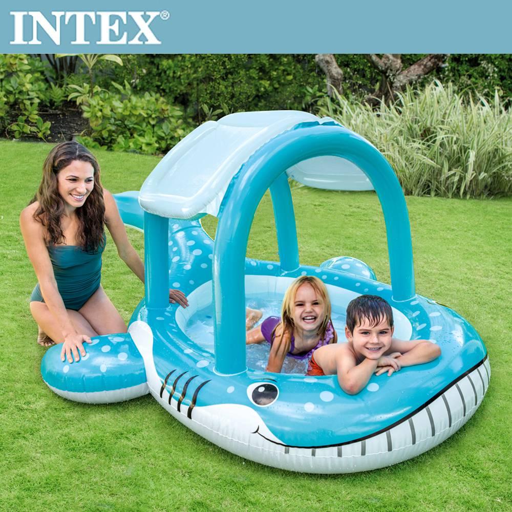 INTEX 鯨魚遮陽幼兒戲水池211x185x109cm(57125)