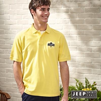 JEEP 美式純棉電繡圖騰短袖POLO衫 (鮮黃)