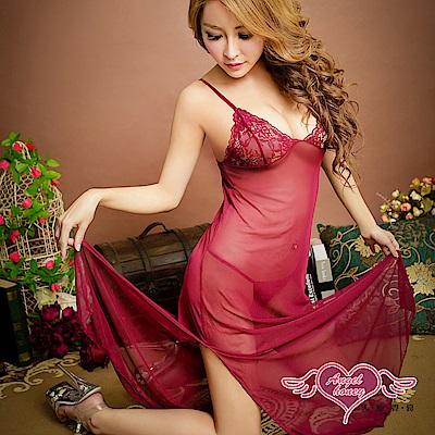 情趣睡衣 奢華挑逗 薄紗半透蕾絲連身長睡裙(棗紅F) AngelHoney天使霓裳