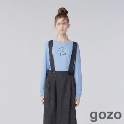 gozo 網路獨家-ART字母舒適簡約風格長袖上衣(二色)-動態show