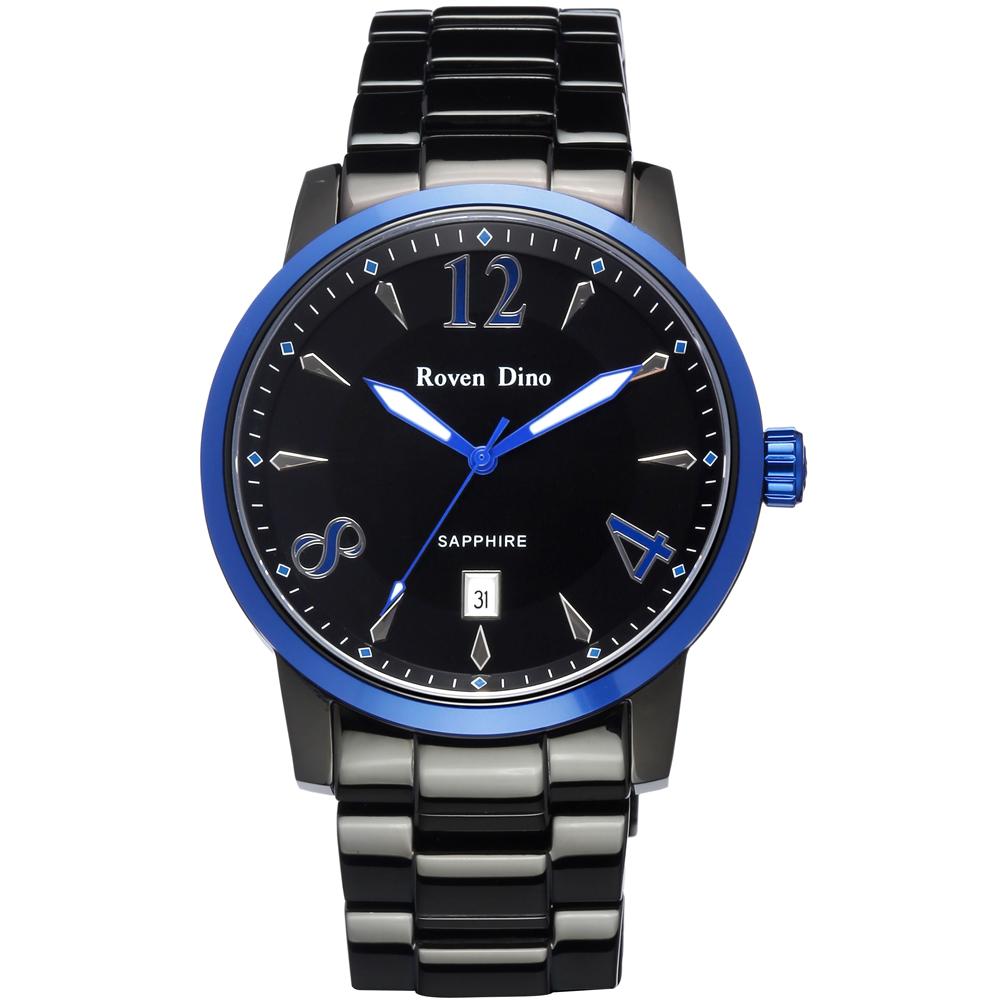 Roven Dino 刀鋒對決 頂尖時尚指針鋼帶腕錶-黑面藍x大 /43mm