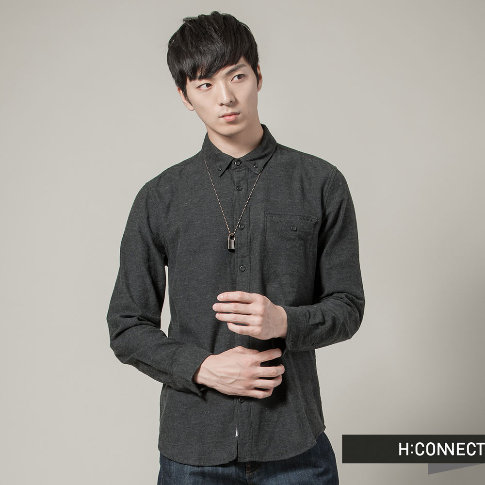 H:CONNECT 韓國品牌  男裝 - 素面知性襯衫 - 深灰