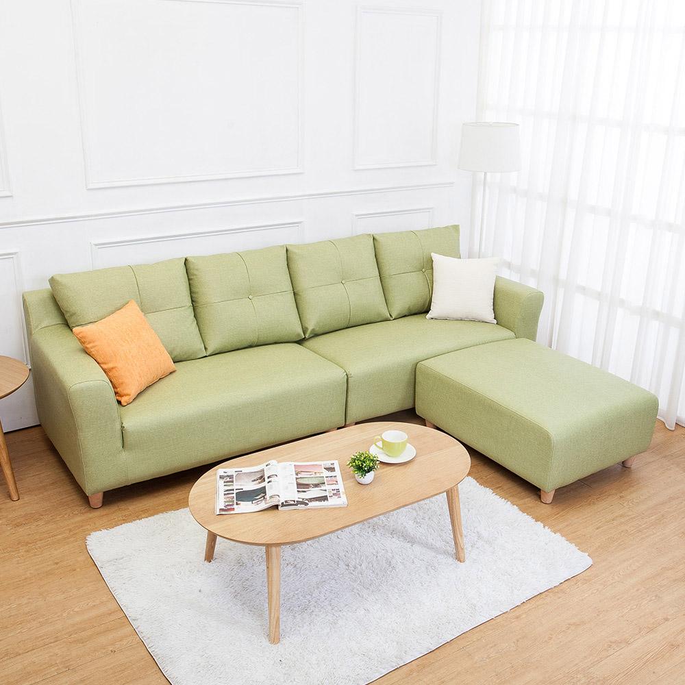 Boden-班森L型綠色貓抓布紋皮沙發(四人座+腳椅)(送抱枕)