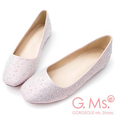 G.Ms. 水鑽金蔥新娘婚宴平底娃娃鞋-粉色