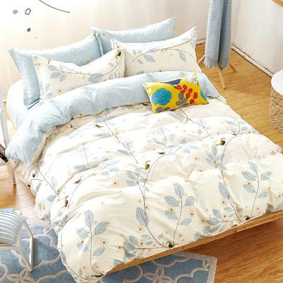 Grace Life 寧夏-灰 精梳純棉雙人全鋪棉床包兩用被四件組