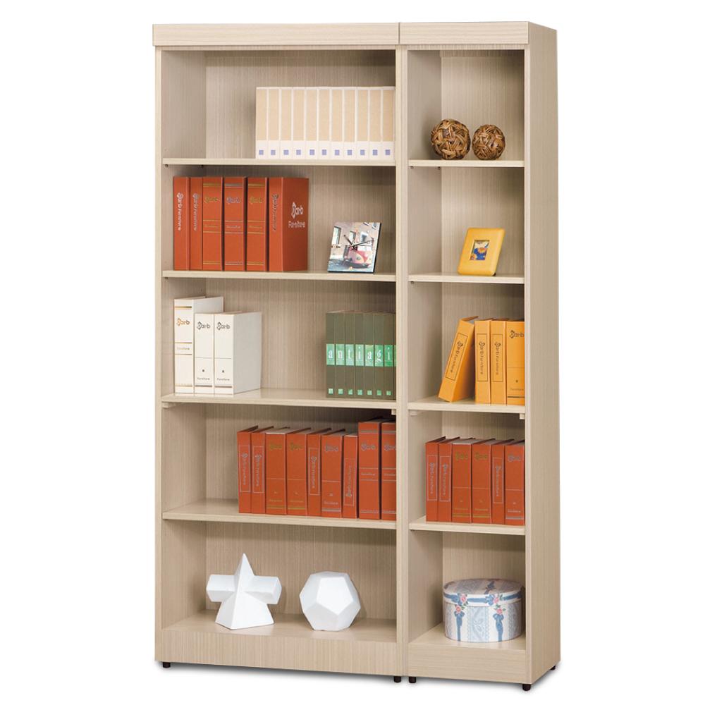 AS-傑西考克白橡色無抽開放式2.6尺+無抽開放式1.3尺書櫃-119x32x185cm