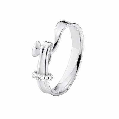 GEORG JENSEN-TORUN 鑲鑽純銀戒指 #204A