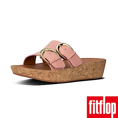 FitFlop DUO-BUCKLE SLIDE SANDALS灰粉