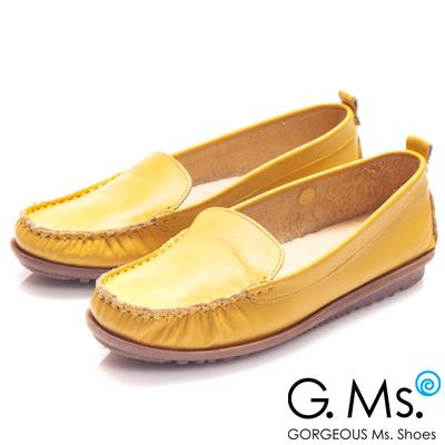 G.Ms. MIT系列-全真皮經典素面莫卡辛鞋-陽光黃