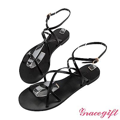 Grace gift-交叉層次細帶平底涼鞋 黑
